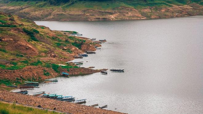 The longest concrete dam in the world Khun Dan Prakarn Chon Dam in Thailand